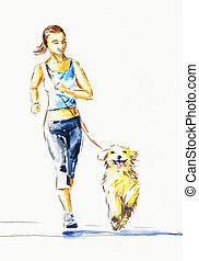 Jogging - Young woman running with dog.Picture created with...