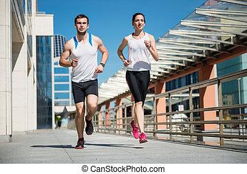 jogging, zusammen