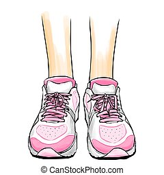 Jogging/running shoes, sneakers - Illustration with slim...