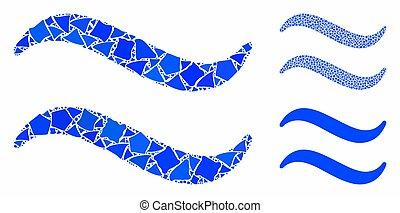 joggly, mozaïek, stukken, golven, pictogram