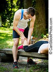 joggning, efter, sport, massera