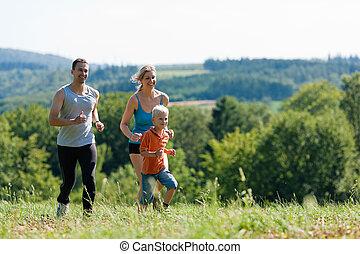 joggning, -, familj, sports