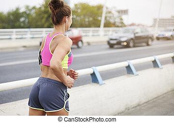 joggning, i staden, kan, vara, really, lustbetonad