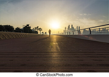 joggning, morgon