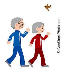 joggning, par, senior
