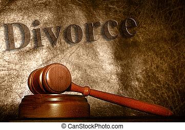 jogi, árverezői kalapács, és, elválás, szöveg, háttér