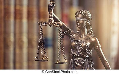 jogi, törvény, fogalom, kép, a, szobor, közül, igazságosság