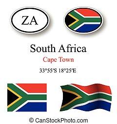 jogo, áfrica, sul, ícones