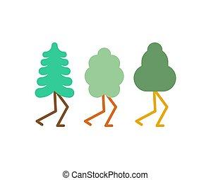 jogo, árvore, ilustração, caricatura, vetorial, pernas, style.