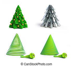jogo, árvores., fundo, ilustrações, christmas branco, 3d