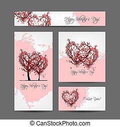 jogo, árvores, valentine, desenho, sakura, cartões
