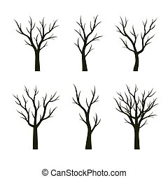 jogo, árvores verdes, sem, leaves., vetorial, illustration.