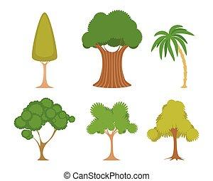 jogo, árvores verdes