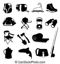 jogo, ícone, acampamento