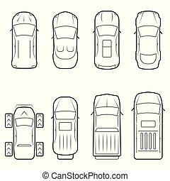 jogo, ícone, carros, topo, linha magra, estilo, vista