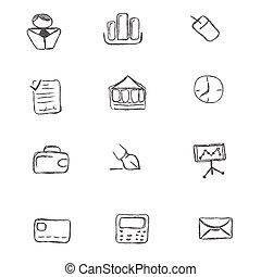 jogo, ícone, doodle, negócio