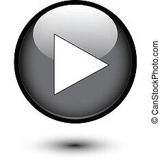 jogo, ícone, ligado, botão preto