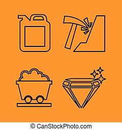 jogo, ícone, mineração