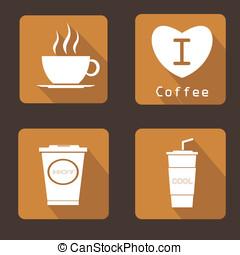 jogo, ícone, vetorial, desenho, café