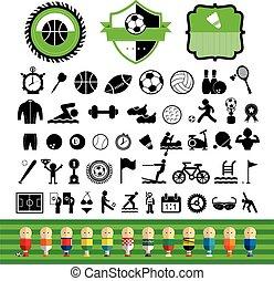 jogo, ícone, vetorial, esportes