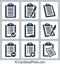 jogo, ícones, área de transferência, lista de verificação, isolado, vetorial