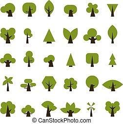 jogo, ícones, árvore, verde, desenho, seu