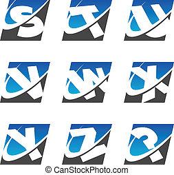 jogo, ícones, alfabeto, 3, swoosh, desporto