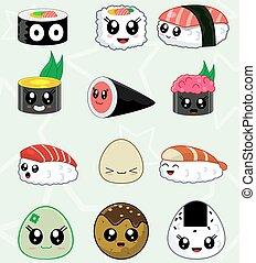 jogo, ícones, alimento, sushi, japoneses, vetorial