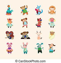 jogo, ícones animais