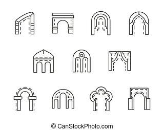 jogo, ícones, arcos, vetorial, pretas, linha