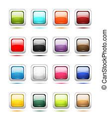jogo, ícones, botão, desenho, lustroso, seu
