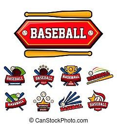 jogo, ícones, brincando, basebol, isolado, bola, morcego, equipment.