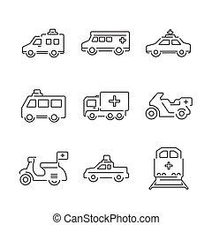 jogo, ícones, car, médico, trem, ambulância, linha