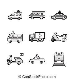 jogo, ícones, car, médico, trem, ambulância