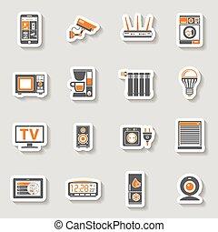 jogo, ícones, casa, adesivo, internet, coisas, esperto