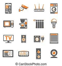 jogo, ícones, casa, internet, coisas, esperto