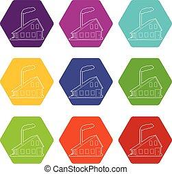 jogo, ícones, casa, vetorial, 9, chaminé