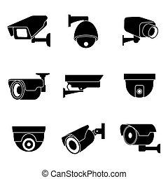 jogo, ícones, cctv, vigilância, vetorial, câmera, segurança
