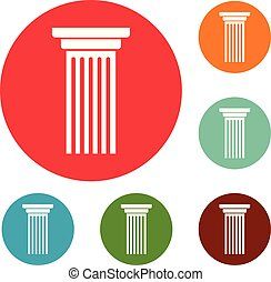 jogo, ícones, coluna, vetorial, círculo, italiano