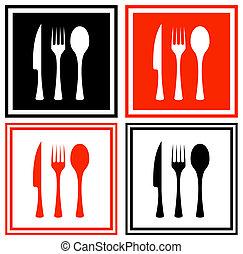 jogo, ícones, com, cozinha, mercadoria