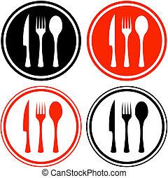 jogo, ícones, com, utensílio cozinha