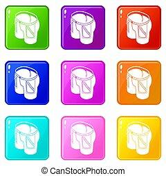 jogo, ícones, cor, calças brim, cobrança, 9