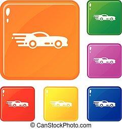 jogo, ícones, cor, car, vetorial, desporto