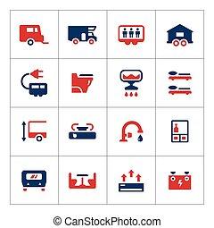 jogo, ícones, cor, caravana, campista, reboque