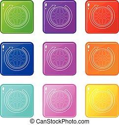 jogo, ícones, cor, cobrança, 9, terra