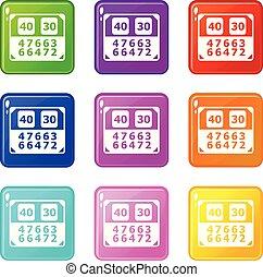 jogo, ícones, cor, cobrança, contagem, tábua, 9, partida
