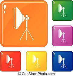 jogo, ícones, cor, equipamento, vetorial, mais claro, estúdio