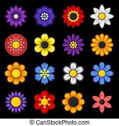 jogo, ícones, cor, experiência., vetorial, pretas, flor