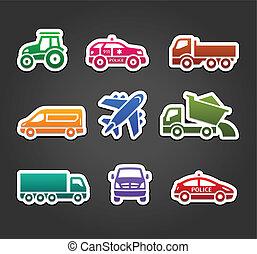 jogo, ícones, cor, pegajoso, adesivos, transporte