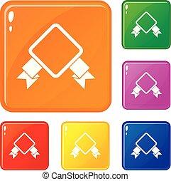 jogo, ícones, cor, vetorial, emblema, fita